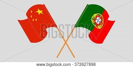 Crossed And Waving Flags Of Portugal And China. Vector Illustration