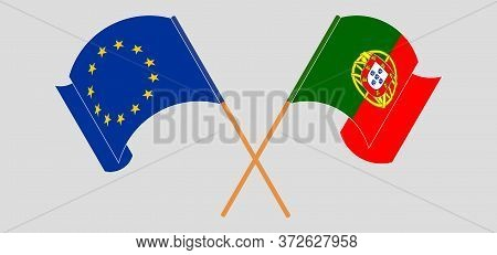 Crossed And Waving Flags Of Portugal And The Eu. Vector Illustration