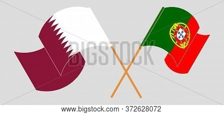 Crossed And Waving Flags Of Portugal And Qatar. Vector Illustration