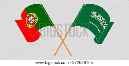Crossed And Waving Flags Of Portugal And The Kingdom Of Saudi Arabia. Vector Illustration