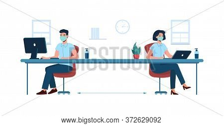 Social Distance In The Office. New Safe Work Standards. Man And Woman Workers, Sitting And Working A
