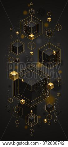 Cubes Cluster With Golden Elements Lines And Dots Vector Abstract Background, 3d Abstraction Vip Lux