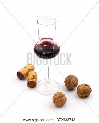 Dry Sweet White Wine In A Small Tasting Glasses Isolated On White Background. For Winery, Bar Or Res