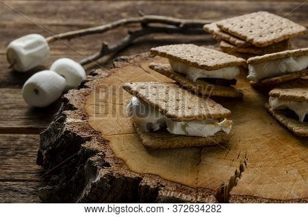 Fresh Homemade Smores With Marshmallows, Chocolate And Graham Crackers. The Popular American Dessert