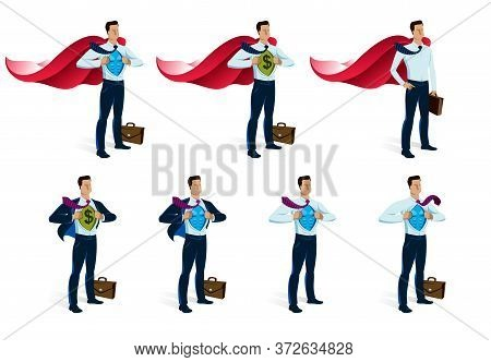 Businessman Superhero Vector Illustrations Set, Young Handsome Business Man Standing Brave And Stron