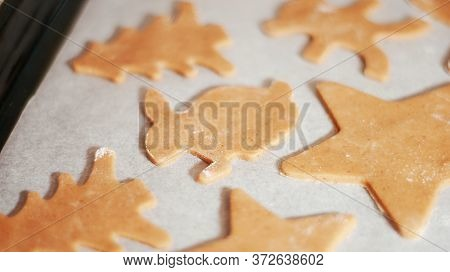Gingerbread Cookie In The Shape Of A Rabbit, Christmas Tree And Stars On Parchment. Christmas Desser