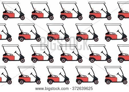 Red Colored Golf Cart Pattern On A White Background. Electric Golf Car Pattern. Vector Illustration.