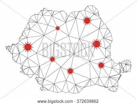 Polygonal Mesh Romania Map With Coronavirus Centers. Abstract Network Connected Lines And Covid Viru