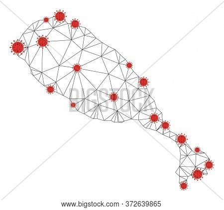 Polygonal Mesh St Kitts Island Map With Coronavirus Centers. Abstract Mesh Connected Lines And Flu V