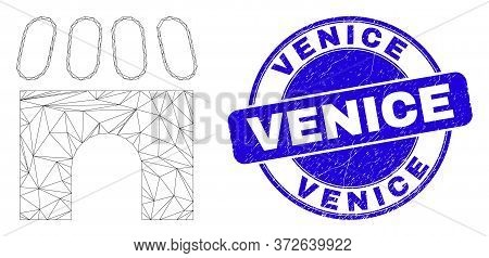 Web Mesh Building Icon And Venice Seal. Blue Vector Round Distress Seal With Venice Phrase. Abstract