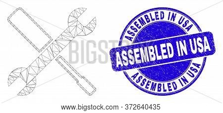 Web Carcass Configuration Tools Pictogram And Assembled In Usa Stamp. Blue Vector Rounded Scratched