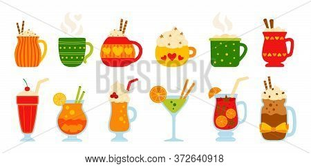 Drink Summer Flat Set. Cartoon Different Beverages Hot And Fresh. Cute Mugs Cocoa, Coffee Milk, Crea