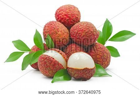 Lychee, Litchi Fruits Isolated On White Background