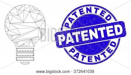 Web Mesh Electric Bulb Icon And Patented Seal Stamp. Blue Vector Rounded Textured Stamp With Patente