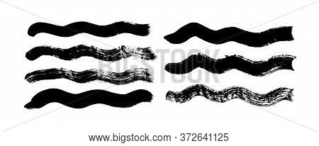 Black Paint Wavy Brush Strokes Vector Collection. Dirty Curved Lines And Wavy Brushstrokes. Ink Illu