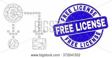 Web Mesh Euro Cash Flow Pictogram And Free License Stamp. Blue Vector Round Distress Stamp With Free