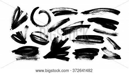 Vector Black Paint, Ink Brush Strokes And Lines. Dirty Grunge Design Element, Box Or Background For