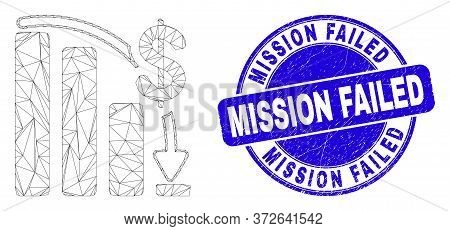 Web Mesh Financial Epic Fail Chart Pictogram And Mission Failed Stamp. Blue Vector Rounded Grunge Se