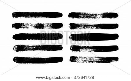 Vector Grungy Paint Brush Strokes Collection. Calligraphy Straight Smears, Stamp, Lines. Hand Drawn