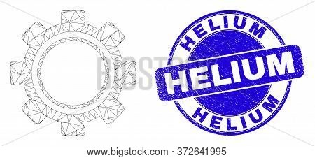 Web Mesh Gear Icon And Helium Watermark. Blue Vector Rounded Distress Watermark With Helium Title. A