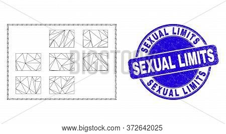 Web Carcass Grid Cells Icon And Sexual Limits Watermark. Blue Vector Round Textured Seal With Sexual