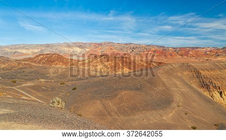 View Of The Ubehebe Craters Volcanic Field In Death Valley National Park. Desert Landscape Surroundi