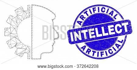 Web Mesh Head Gear Icon And Artificial Intellect Seal. Blue Vector Rounded Distress Stamp With Artif