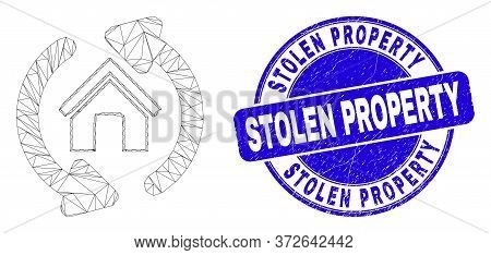 Web Carcass Home Refresh Arrows Pictogram And Stolen Property Seal Stamp. Blue Vector Rounded Distre