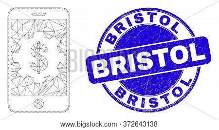 Web Mesh Mobile Bank Settings Pictogram And Bristol Seal Stamp. Blue Vector Rounded Distress Stamp W