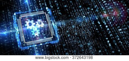 Business, Technology, Internet And Network Concept. Automation Software Technology Process System.3d