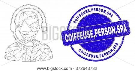 Web Mesh Radio Operator Pictogram And Coiffeuse,person,spa Seal Stamp. Blue Vector Rounded Textured