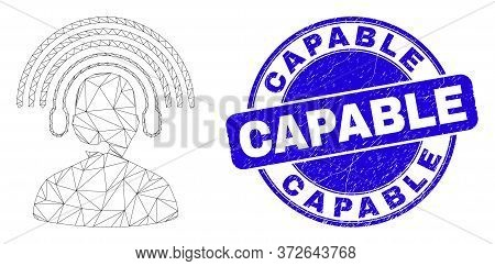 Web Mesh Radio Operator Pictogram And Capable Seal. Blue Vector Round Textured Seal Stamp With Capab