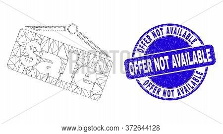 Web Mesh Sale Announce Icon And Offer Not Available Seal Stamp. Blue Vector Rounded Distress Seal Wi