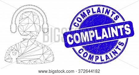 Web Carcass Service Operator Pictogram And Complaints Seal Stamp. Blue Vector Round Grunge Seal Stam