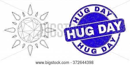 Web Mesh Sunshine Pictogram And Hug Day Stamp. Blue Vector Round Grunge Seal Stamp With Hug Day Phra