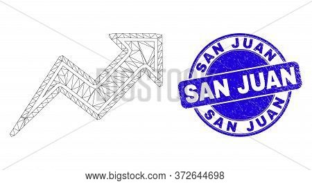 Web Mesh Trend Arrows Icon And San Juan Seal Stamp. Blue Vector Rounded Grunge Seal With San Juan Ph
