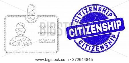 Web Mesh User Id Badge Pictogram And Citizenship Seal Stamp. Blue Vector Rounded Scratched Seal Stam