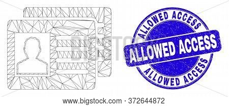 Web Carcass User Id Cards Icon And Allowed Access Seal. Blue Vector Rounded Scratched Seal With Allo