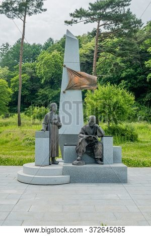 Cheongju, South Korea; May 31, 2020: Statue Honoring Independence Activist, Historian And Journalist