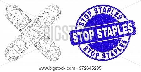 Web Mesh X-cross Pictogram And Stop Staples Stamp. Blue Vector Rounded Distress Watermark With Stop