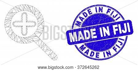 Web Mesh Zoom In Icon And Made In Fiji Seal Stamp. Blue Vector Rounded Scratched Seal Stamp With Mad