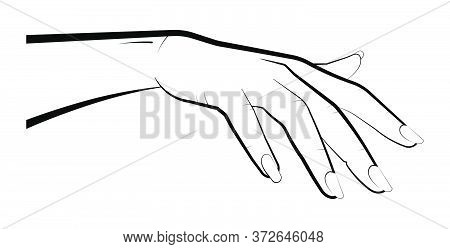 Woman Holds Out Her Hand For A Kiss. Gesture Takes, Reaches For The Subject, Covers With A Palm. Iso