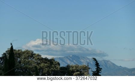 Low Cloud Over Distant Mountain In Rural Andalusia, Spain