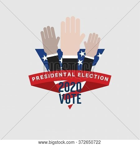 Raising Hands Under The Flag Of The United States Of America To Exercise The Right To Vote In The Un