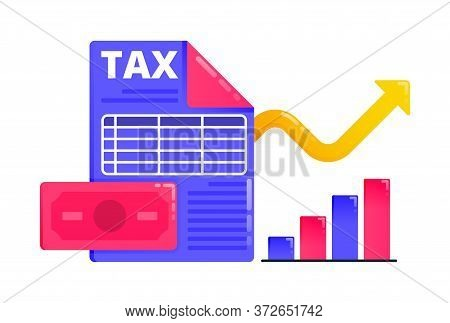 Logos For Increase Economic And Tax Revenue, Tax Reporting And Financial Income. Logos Can Also Be U
