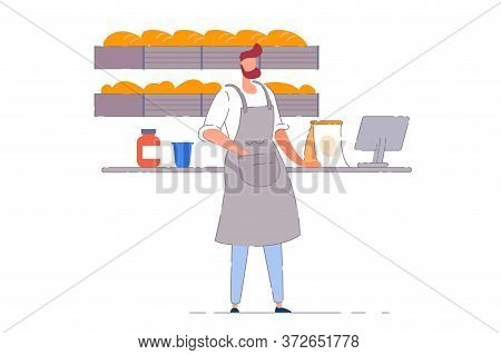 Bakery Business Owner. Isolated Vector Baker Person Man Working At Bakery Retail Shop Checkout Count