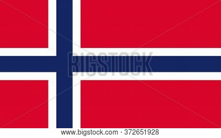 Norwegian Flag, Official Colors And Proportion Correctly. National Norwegian Flag. Vector Illustrati