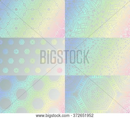Holographic Texture Set. Vector Gradient Hologram Iridescent Geometric Mosaic Pattern Collection. Ab