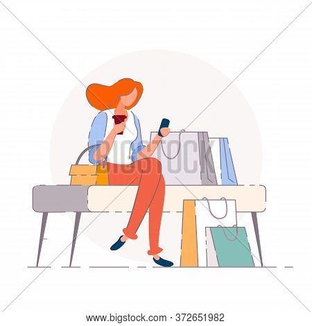 Shopping Break. Isolated Vector Buyer Woman Person Cartoon Character Relaxing, Having Break, Sitting