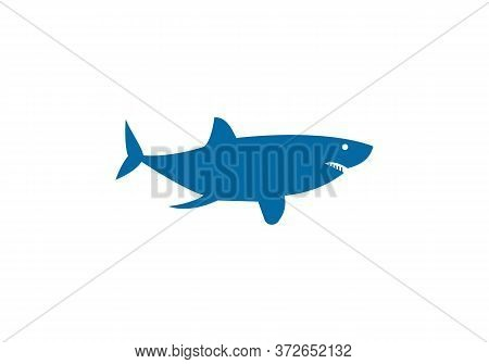 Jumping Shark Icon Logo Template. Simple Shark Logo